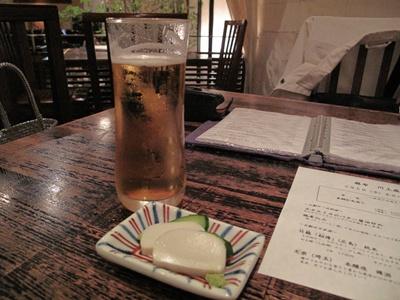 麻布  川上庵 ビールで乾杯~