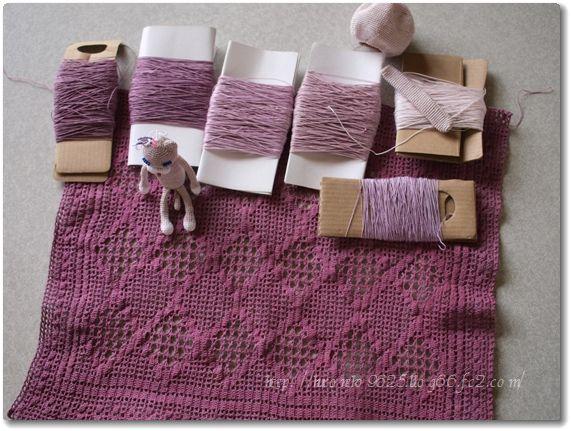 レース糸と編み猫