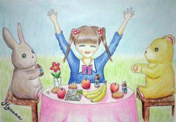 綾馬さん_朝食りんごどーぶつと