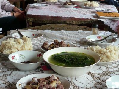アヒル肉昼食