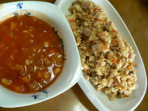 トマトスープと焼き飯