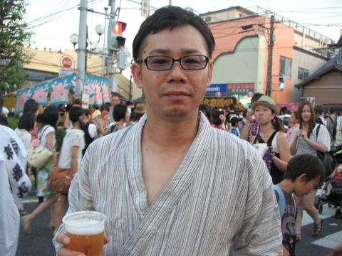 ビールでご満悦