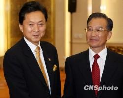 10月10日下午,中國總理#28331;家寶在北京人民大會堂與出席第二次中日韓領導人會議的日本首相鳩山由紀夫會談