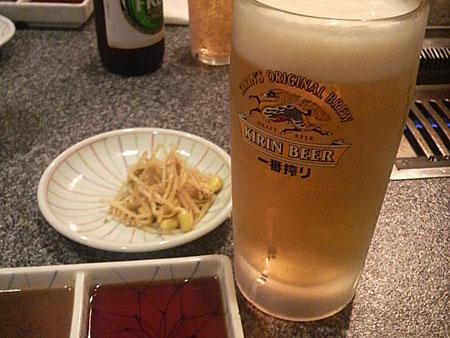 ナムルと生ビール
