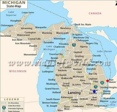 michigan-state-map port huron