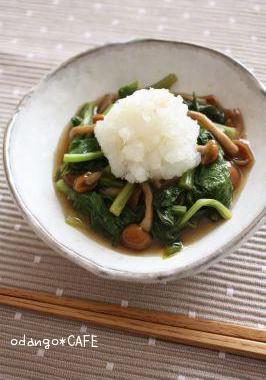 小松菜となめこの雪見煮びたし