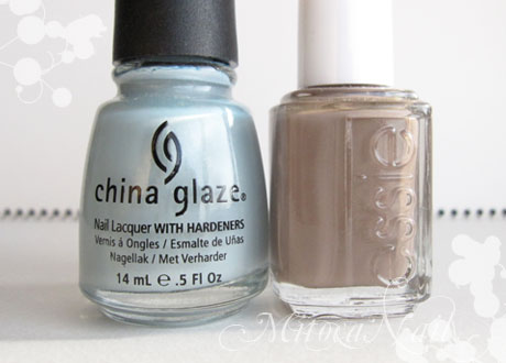 China Glaze#80972 Sea Spray(シースプレー)/essie#766 Glamour Purse(グラマーパース)