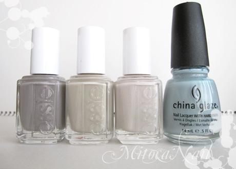 essie#696 Chinchilly(チンチリー)/essie#718 Playa del platinum(プレイヤ・デル・プラチナム)/essie#630 Body Language(ボディ・ランゲージ) /China Glaze#80972 Sea Spray(シースプレー)