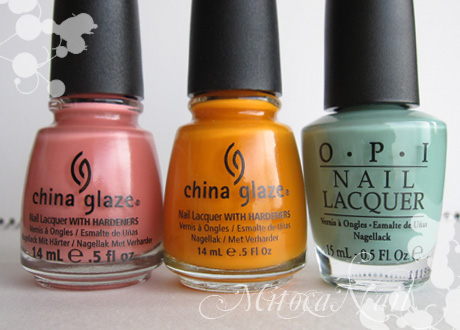 China Glaze#77004 IV(フォー)/China Glaze#80701 Papaya Punch(パパイヤパンチ)/OPI#P18 Mermaid's Tears(マーメイド・ティアーズ)