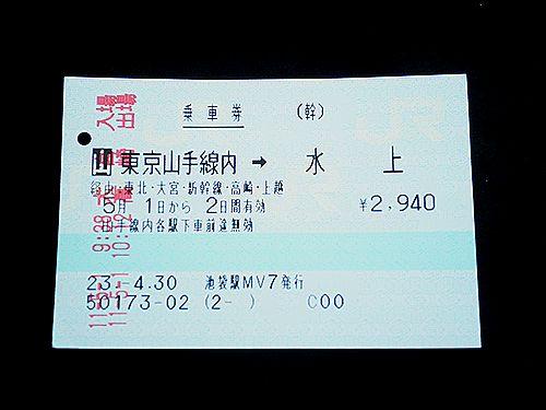 東京山手線内→水上 乗車券