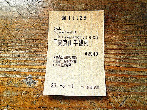 水上→東京山手線内乗車券