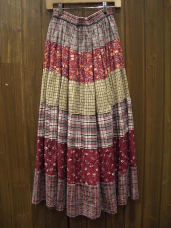 チェック花柄スカート