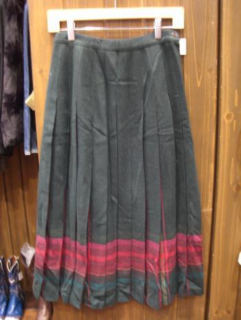 ウールスカート緑