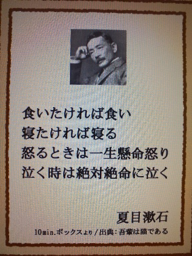 漱石さんの有り難い御言葉☆