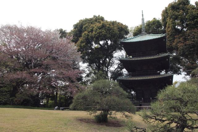 椿山荘の三重の塔