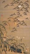秋塘群雀図