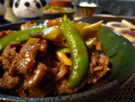 100302牛肉のスナップエンドウのピリ辛炒め