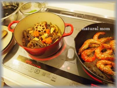 筑前煮と海老の甘辛煮