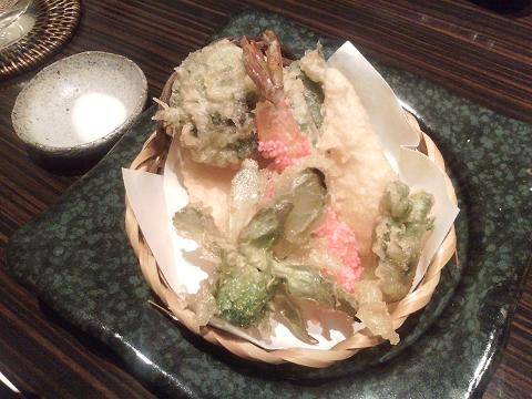 海老のみじんこ揚げと春野菜の天ぷら