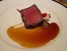福岡牛背肉の備長炭焼き サツマイモと万願寺ししとう 柚子胡椒風味のナチュラルソース
