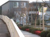 左側のスロープを登っていくと、信号につかまることなく美術館に入ることが出来るが、建物の横から侵入することになり、イベント会場の入り口を探すのが大変。横断歩道を渡って正面玄関から進入することをお薦めする