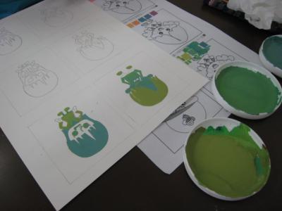 緑色を中心にした色相の集まり
