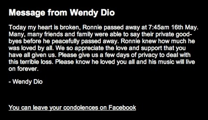 Wendy Dio Message