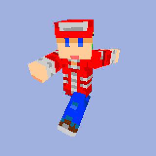 手作りスキン赤い帽子の人