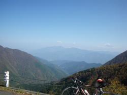 右上に富士山が見えます