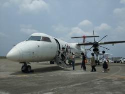 徳之島から鹿児島行きはプロペラ機で・・・。