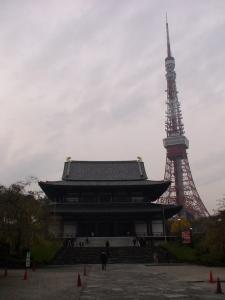 増上寺大殿と東京タワー