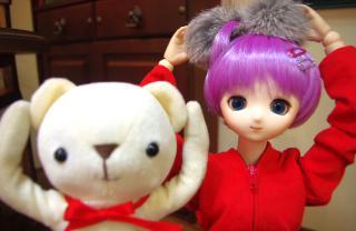 クマと子タヌキ