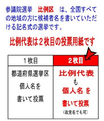 投票用紙の注意事項