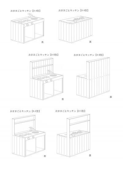 おままごとキッチンA型一覧(3種)