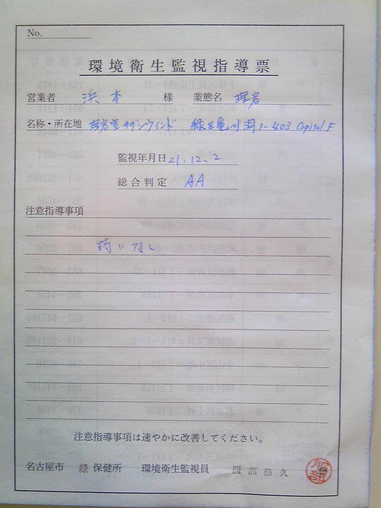 衛生検査合格書