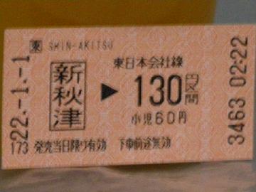 新秋津で購入した切符