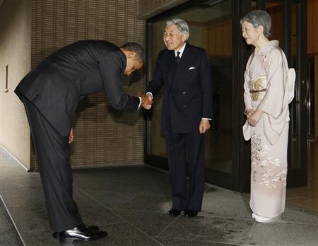 天皇陛下にお辞儀をするオバマ大統領