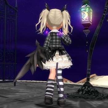チェックリボンコート&異界の片翼(後ろ)