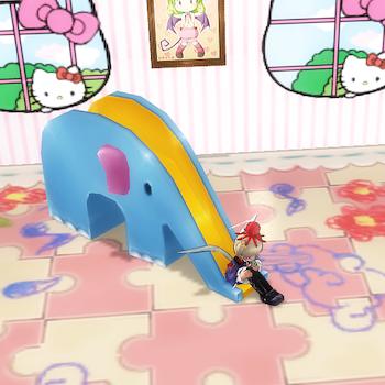 ぞうさんのすべり台、こども部屋の床