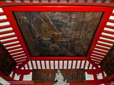 沙竭羅龍王像の上の天井に描かれた龍