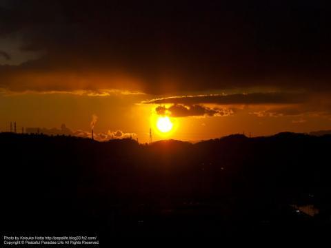 野島公園の展望台から見た夕日1