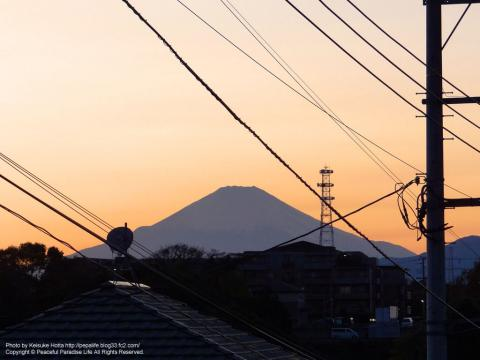 夕焼け空と富士山