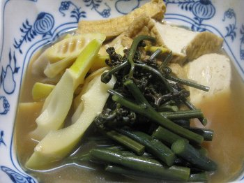 蕨と破竹と生揚げの煮物