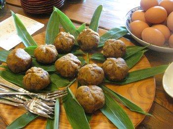 文恵さん作かぼちゃと小豆あんの茶巾