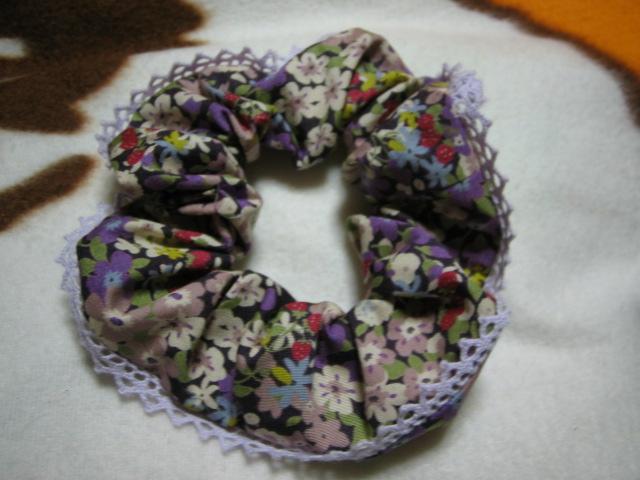 シュシュ花柄薄紫