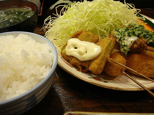 串揚げ定食@でめ金