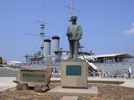 記念艦 三笠と東郷元帥@三笠公園