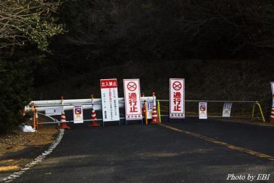 林田温泉ホテル先の通行止めバリケード