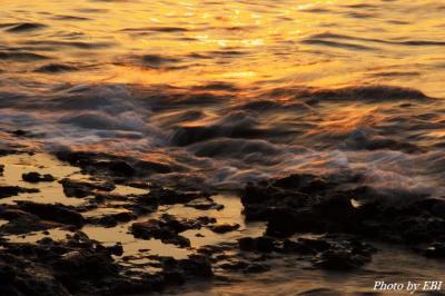 光る波飛沫