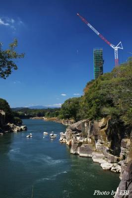 曾木の滝大橋工事中
